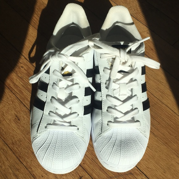 44718fb2fbfe adidas Shoes - Adidas superstar shell toes white black stripes